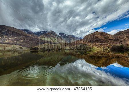 Sacred holy mountain lake Lohan Tso in Himalayas. Nubra valley, Ladakh, Jammu and Kashmir, India