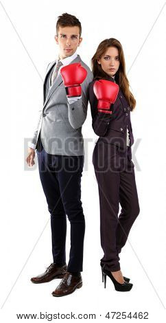 Young business people in boxing gloves isolated on white