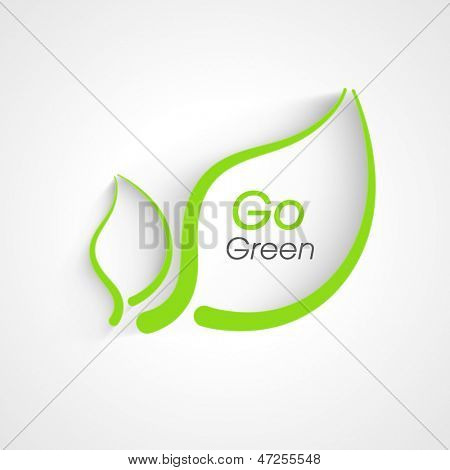 Nature background with green leafs and text go green.