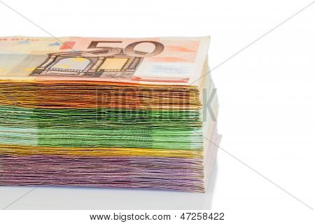 many different euro bills. photo icon for wealth and investment