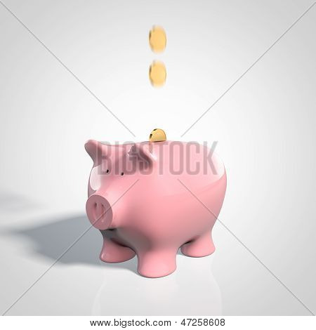 Pink pig bank