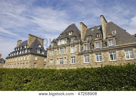 typical intra muros st malo houses, brittany, france