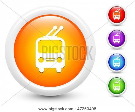 Railcar Icons on Round Button Collection Original Illustration
