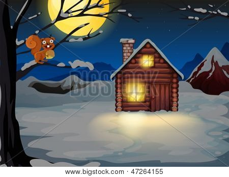 Illustration of a squirrel at the branch of a tree near a wooden house