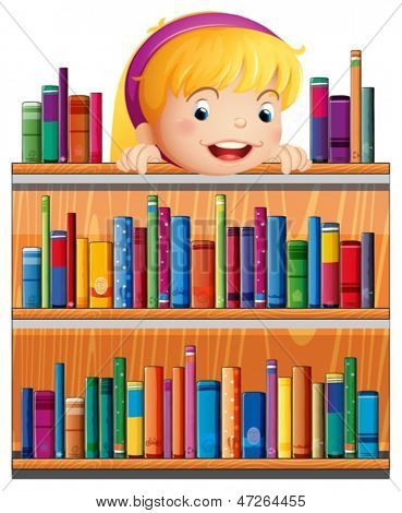 Illustration of a girl with a pink headband hiding at the back of the shelves