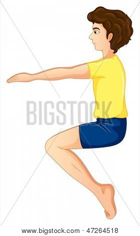 Illustration of a young man wearing a yellow shirt doing yoga on a white background