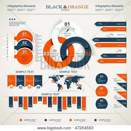 Set Elements Of Infographics poster