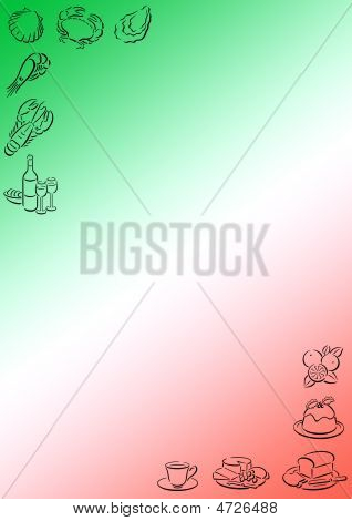 Background With Italian Colors And Food Symbols
