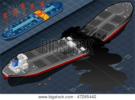 Isometric  Ship Tanker Destroyed In Two Parts In Rear View