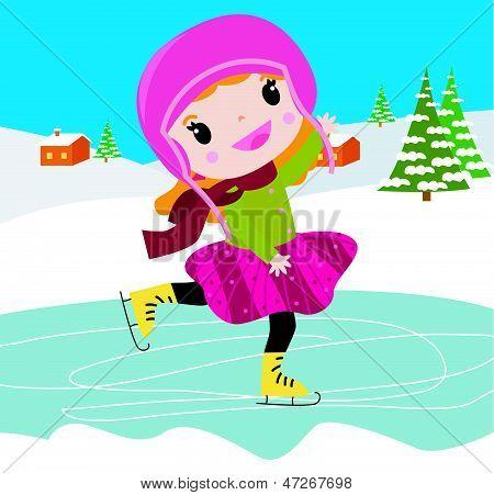 cute girl on skates