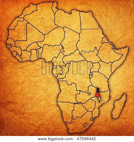 Malawi no mapa real da África