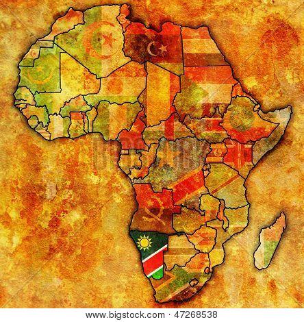 Namíbia no mapa real da África