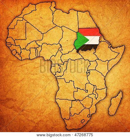 Sudão no mapa real da África