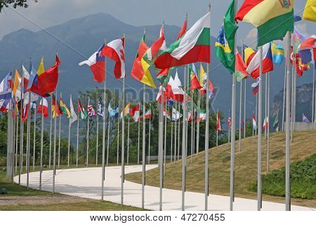 Set Of Coloured Flags Of Many Nations Of The World