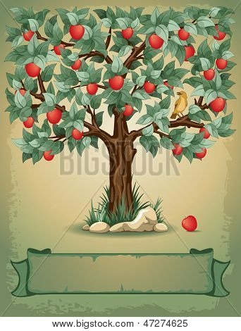 Vintage background with apple tree and place for your text