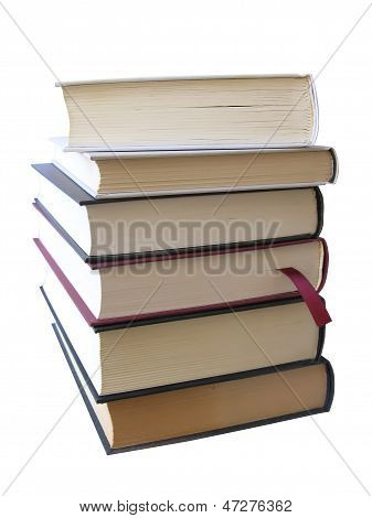 Books Pile Isolated In White, With Clipping Path