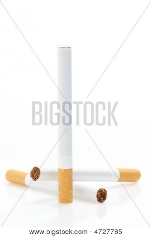 Cigarettes Over Whitevertical Composition