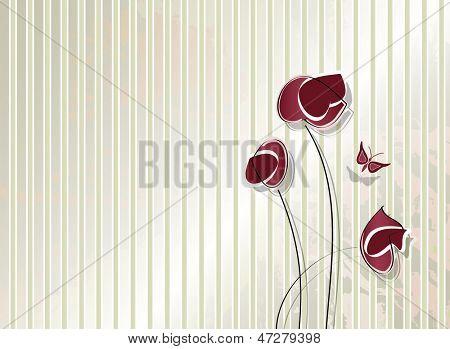 Vintage flower design - retro striped background