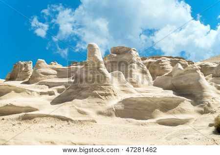Caves and rock formations by the sea at Sarakiniko area on Milos island,a Greece