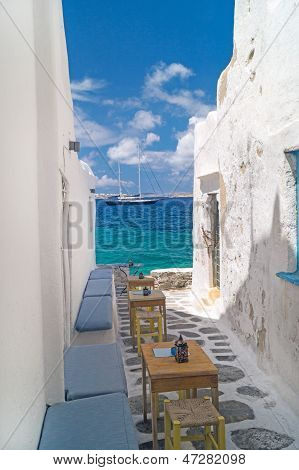 Traditional Greek Alley On Mykonos Island, Greece