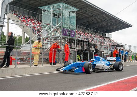 MOSCOW - JUNE 23: Carlos Huertas of Carlin team (GBR) ready for start at World Series by Renault in Moscow Raceway on June 23, 2013 in Moscow