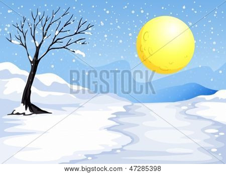 Ilustración de una noche de nieve