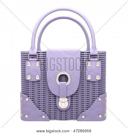 Women's lilac wicker handbag closeup on light background