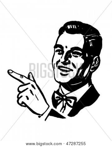 Man Pointing - Retro ClipArt Illustration
