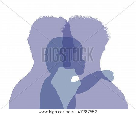 Homosexual Male Couple And Their Baby Colorful Silhouette