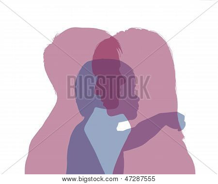 Homosexual Female Couple And Their Baby Colorful Silhouette