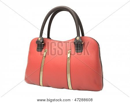 Women's red handbag isolated on white background