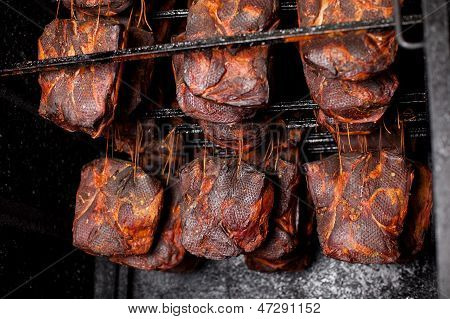 Ham Hanging In The Smoking House