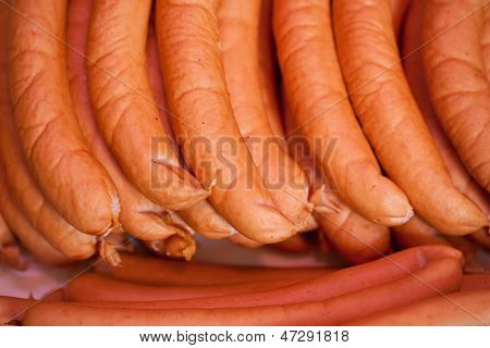 Sausages On Display At Shop