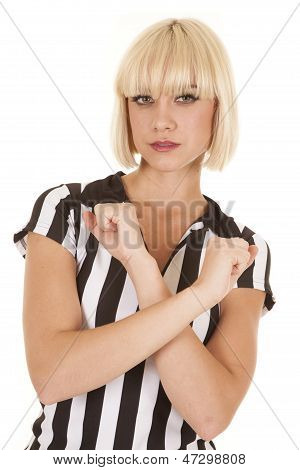 Woman Blond Ref Arms Crossed Serious