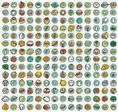 picture of mixed nut  - Collection of 196 food and kitchen doodled icons  - JPG