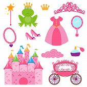stock photo of storybook  - Vector Set of Princess and Fairy Items - JPG