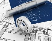 stock photo of mechanical engineering  - mechanical sketch with 3d model and bearing - JPG