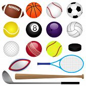 stock photo of pool ball  - Large Realistic Vector Sports Set with balls and equipment - JPG