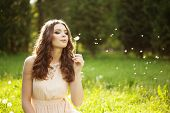 image of dandelion  - Beautiful young woman blowing a dandelion - JPG