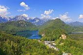 stock photo of bavarian alps  - Landscape of Bavarian Alps in Germany and Hohenschwangau Castle - JPG