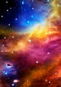 picture of descriptive  - Far space being shone nebula as abstract background - JPG