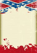 Grunge Confederate old flag. A poster with a large scratched frame and a grunge confederate flag for