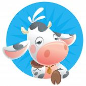 Cartoon Sleepy Baby Cow Thinking Icon
