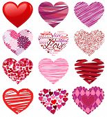 picture of hand kiss  - Pink and Red Vector Collection of Stylized Hearts - JPG