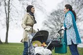 Side view of happy young mothers with strollers in park having chat