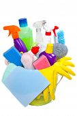 stock photo of disinfection  - full box of cleaning supplies and gloves isolated on white - JPG