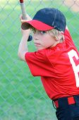 pic of little-league  - Portrait of Little league baseball player holding a bat - JPG