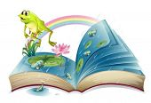 foto of storybook  - Illustration of a storybook with a frog and fishes at the pond on a white background - JPG