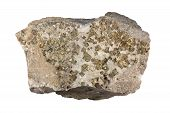 stock photo of iron pyrite  - Hydrothermal vein in quartzitic country rock is filled with quartz and pyrite  - JPG