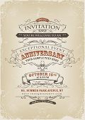 stock photo of prospectus  - Illustration of a vintage invitation poster with sketched banners floral patterns ribbons text and design elements on grunge frame background - JPG